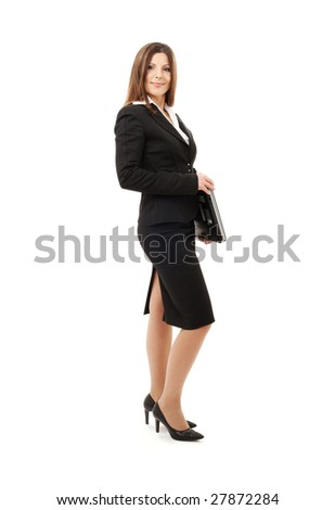 picture of successful businesswoman with laptop computer - stock photo