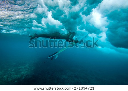 Picture of Surfing a Wave.Under Water Picture.