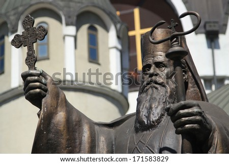 Picture of Sv. Kiril statue in front of Macedonia Orthodox Church in Skopje - stock photo