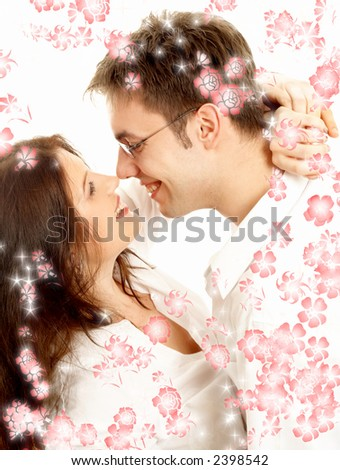 picture of sweet couple surrounded by rendered flowers