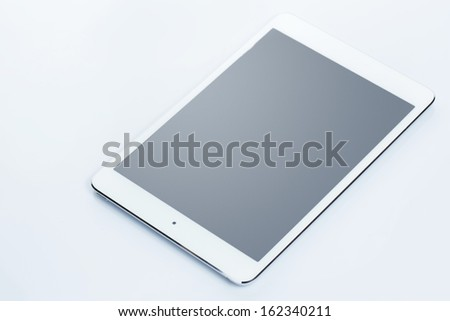 Picture of tablet pc on white background - stock photo