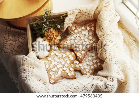 Picture of tasty cookies in christmas decoration