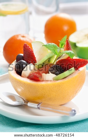 picture of tasty fruity salad. shallow dof - stock photo