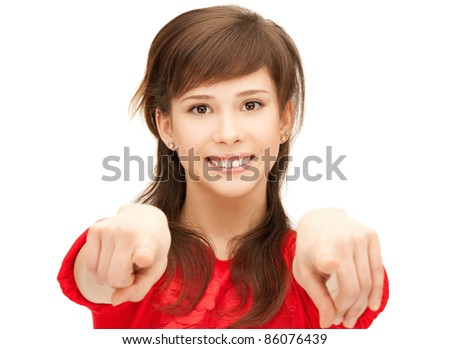 picture of teenage girl pointing her finger - stock photo