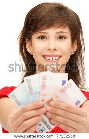 picture of teenage girl with euro cash money