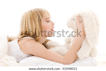 picture of teenage girl with plush toy