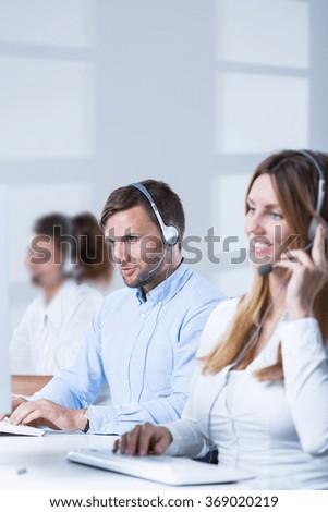 Picture of teleoperators team of telesales center - stock photo