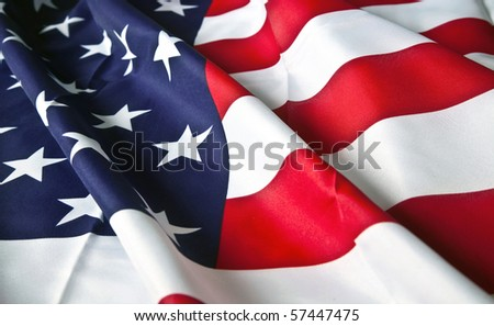 picture of the American flag with wavy texture - stock photo