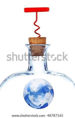 Picture of the blue globe in a glass bottle  with a cork and a red corkscrew - stock photo