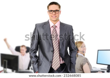 picture of the business team in an office - stock photo