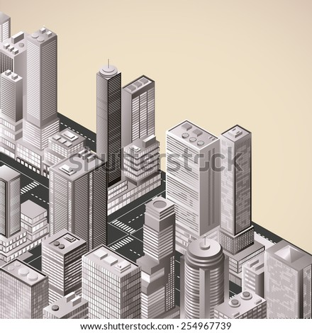 Picture of the city skyscrapers. For designers, for websites and creative artists. - stock photo