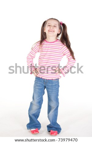 Picture of the cute little girl in blue jeans - stock photo
