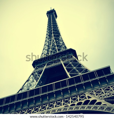 picture of the Eiffel Tower in Paris, France, with a retro effect - stock photo