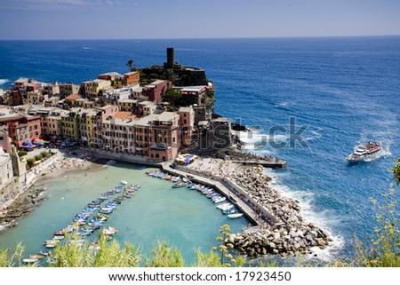picture of the fishing village Vernazza. Cinque Terre is a national park in Italy and consitst of 5 town. - stock photo