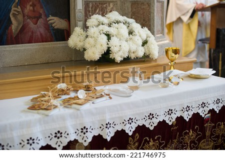 Picture of the holy water and wine. - stock photo