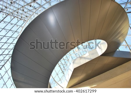 Picture of the inferior pyramid of the Louvre Palace in Paris, stairs. September 2008.  - stock photo