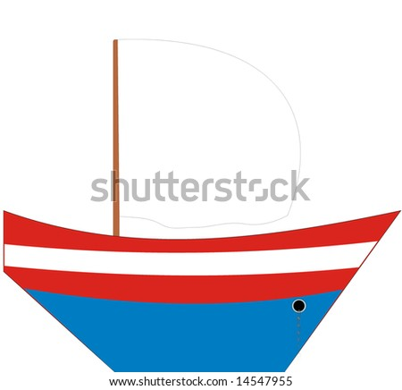 picture of the ship of dark blue and red colors with a white strip