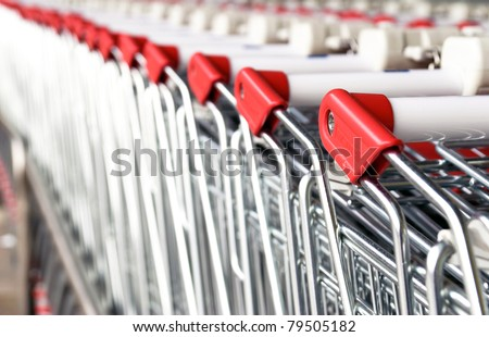 Picture of the shopping carts collected in line. - stock photo