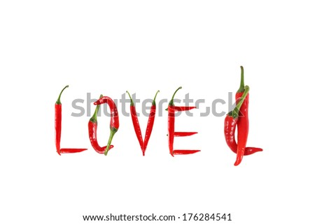 Picture of the word love written with red chili peppers - stock photo
