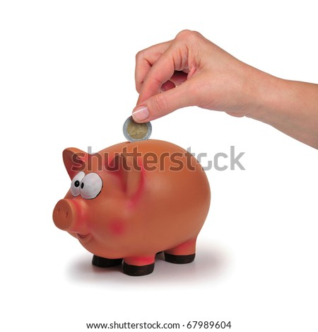 picture of thrifty pig with hand and currencies