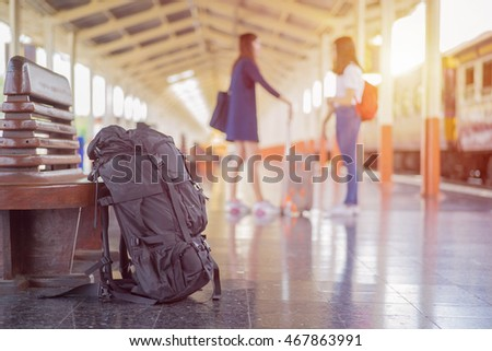 Picture of travel in holiday by train at train station