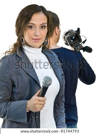 Picture of TV reporter and teleoperator - stock photo