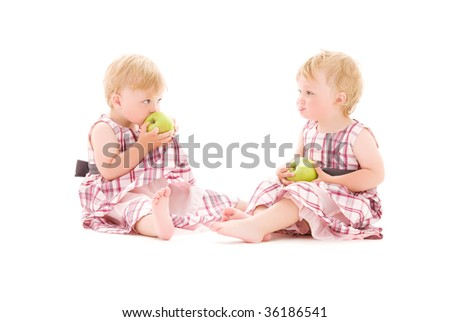 picture of two adorable twins over white