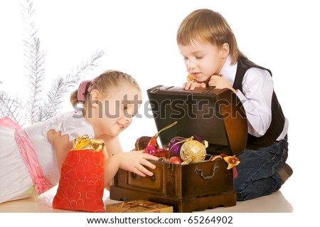 Picture of two lovely  children with Christmas box
