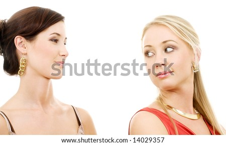 picture of two young girlfriends over white - stock photo