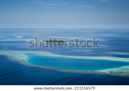 Picture of  typical Maldives island taken from air - stock photo