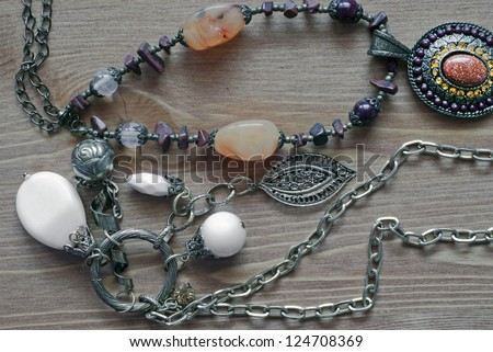 Picture of various expensive necklaces - stock photo