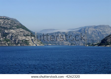 Picture of viaduct in Lysefjord in Norway. - stock photo
