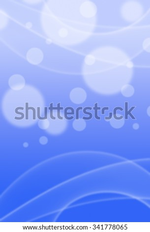 Picture of white bokeh lights and motion effects on blurred bright blue background. Vertical digital festive background. - stock photo
