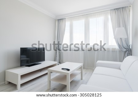 Picture of white elagnt lounge with black plasma - stock photo