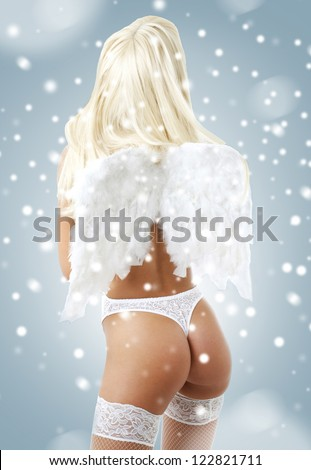 picture of white lingerie angel girl over white