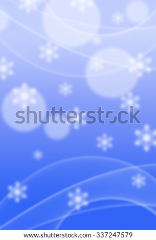 Picture of white snowflakes and bokeh lights on blurred bright blue background. Vertical digital wintertime festive design. - stock photo