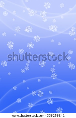 Picture of white snowflakes and motion effect on blurred bright blue background. Vertical digital wintertime festive background. - stock photo