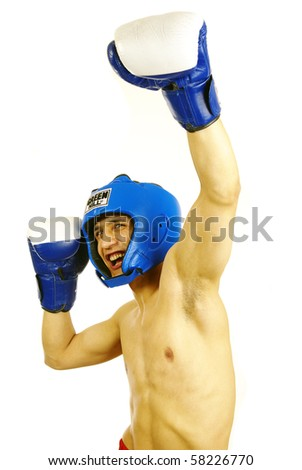 Picture of winner in boxing competition - stock photo