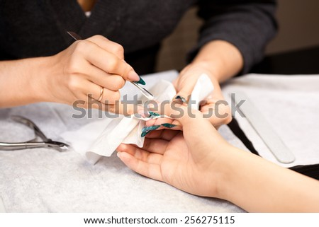 Picture of woman at manicure procedure - stock photo