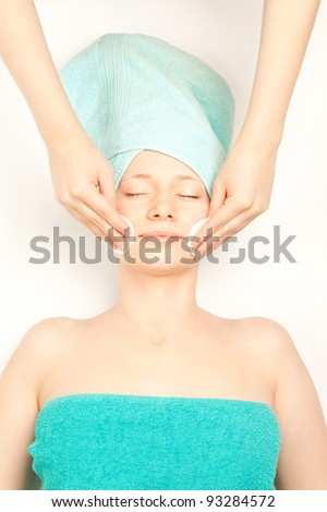 Picture of woman at spa procedures - stock photo