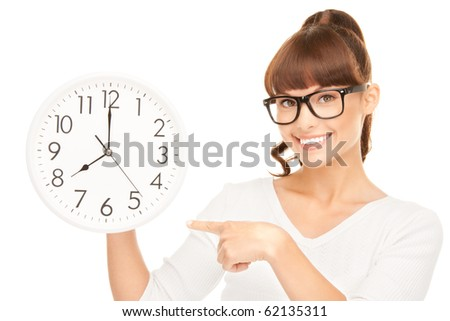 picture of woman holding big clock over white - stock photo
