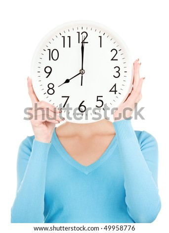 picture of woman with big clock covering face