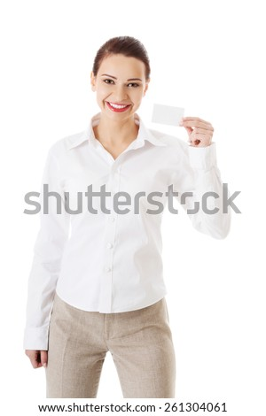 Picture of woman with business card. - stock photo
