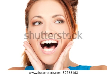 picture of woman with facial expression of surprise - stock photo