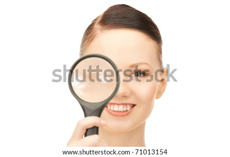 picture of woman with magnifying glass over white