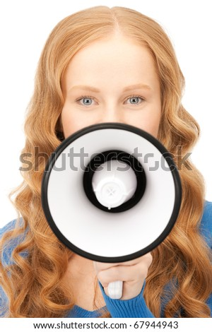 picture of woman with megaphone over white - stock photo