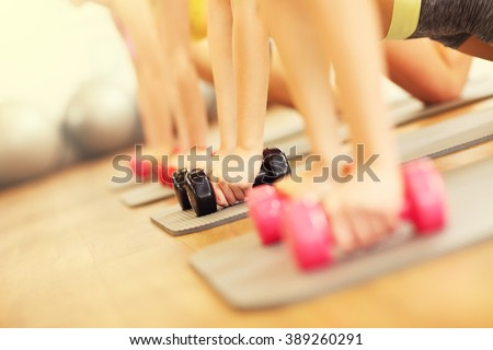 Picture of women group working out in gym - stock photo