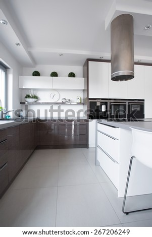 Picture of wooden cupboards in modern kitchen - stock photo