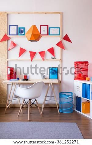 Picture of wooden desk and stylish white office chair - stock photo