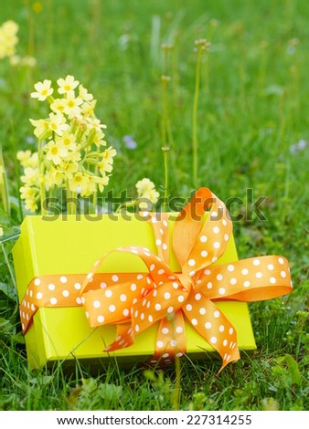 Picture of yellow gift box mothers day gift box - stock photo